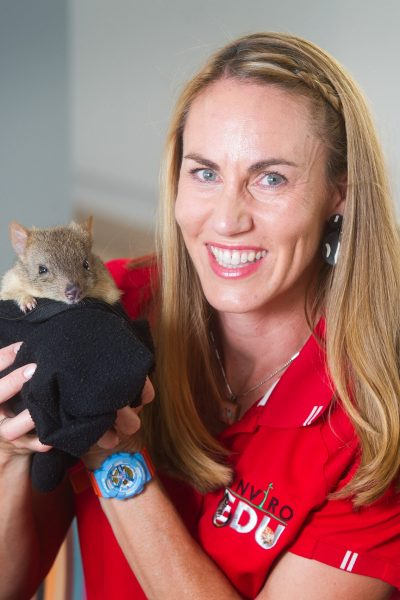 EnviroEdu. Sarah Holmes with a Brush-Tailed Bettong. Picture: Carmel Zaccone