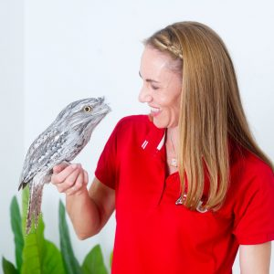 EnviroEdu. Sarah Holmes with a Tawny Frogmouth. Picture: Carmel Zaccone